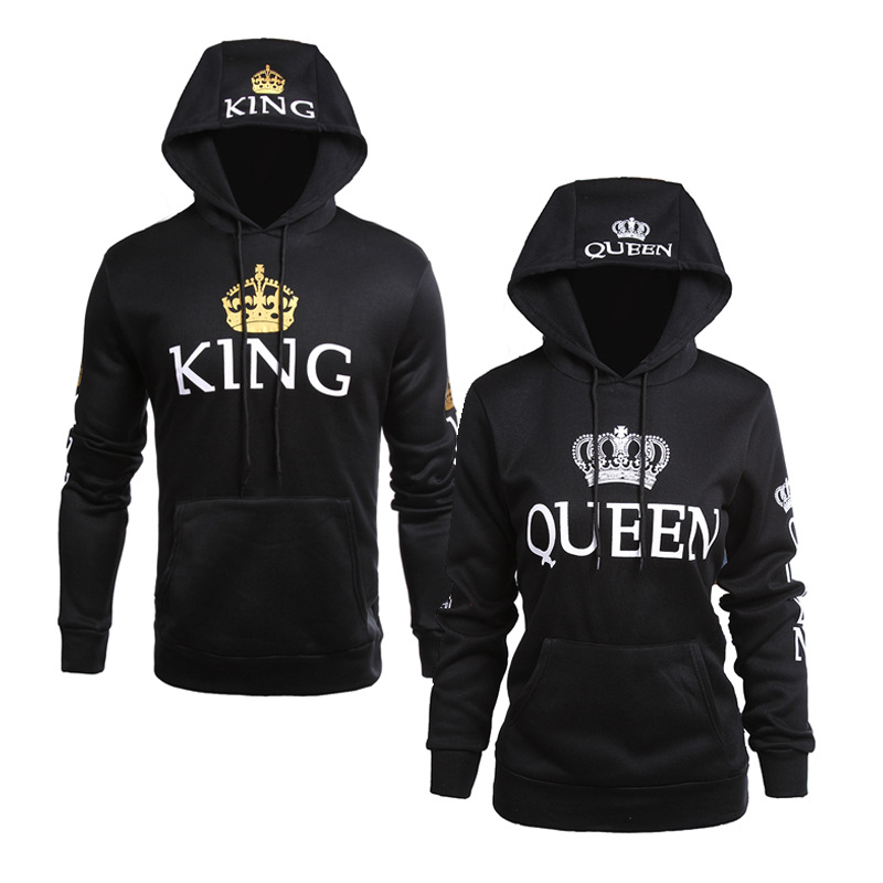 couple hoodies king and queen black gold couple gear. Black Bedroom Furniture Sets. Home Design Ideas