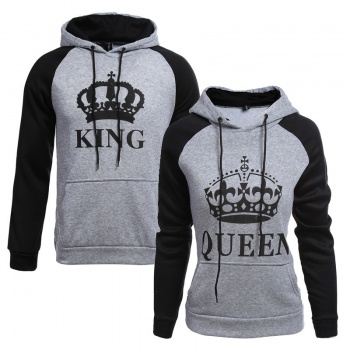 1b8f0dd00f King and Queen Couple Hoodie (grey)