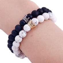 King and Queen Crown Couple Bracelet (pair)