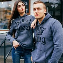 Grey King and Queen Couple Hoodie