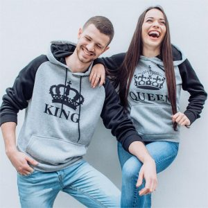 Grey Black King and Queen couple clothing